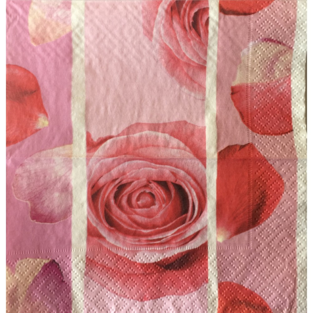 Servetel Decorativ trandafiri rosii pe fond roz